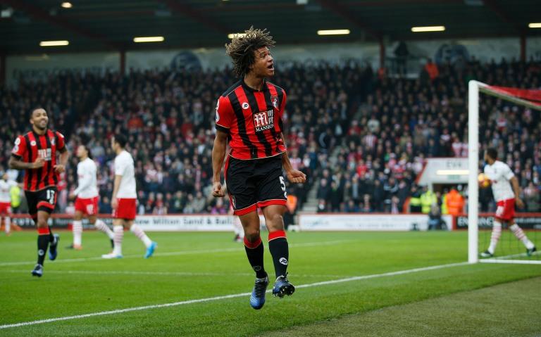 Bournemouth's Nathan Ake celebrates scoring their first goal