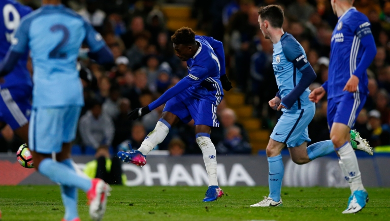 Callum Hudson Odoi scores the third goal for Chelsea