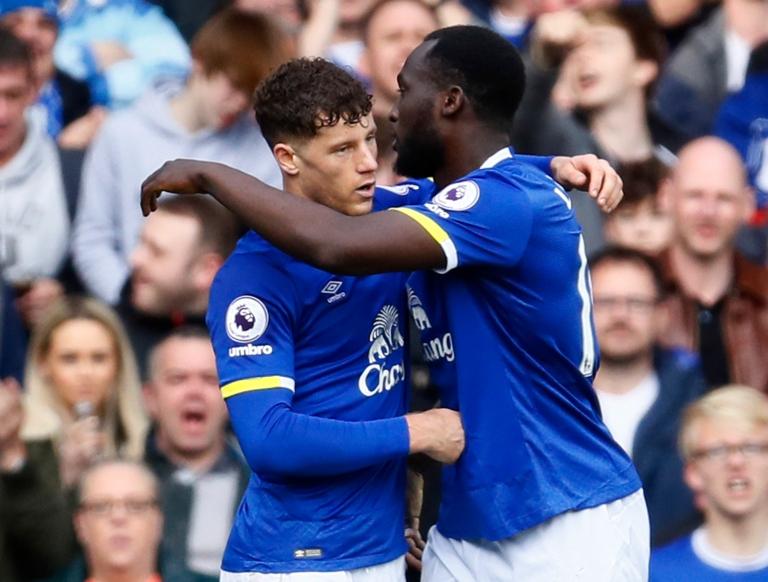 Everton's Romelu Lukaku celebrates scoring their third goal with Ross Barkley