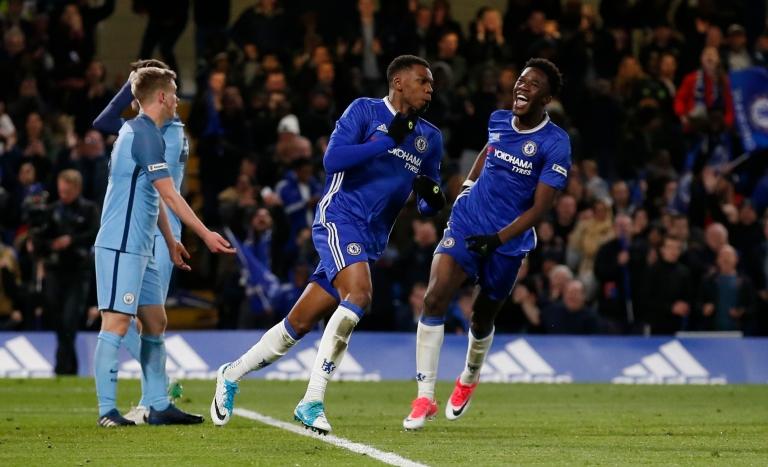 Dijon Sterling (C) celebrates scoring the fourth goal for Chelsea